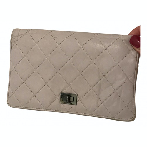 Chanel 2.55 White Leather Clutch Bag