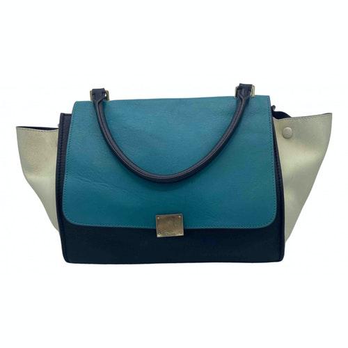 Celine Trapèze Green Leather Handbag
