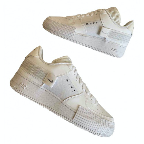 Nike Air Force 1 White Leather Trainers