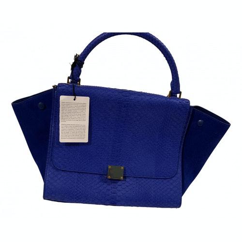 Celine Trapèze Blue Python Handbag