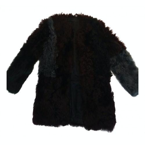 Karl Lagerfeld Burgundy Faux Fur Coat