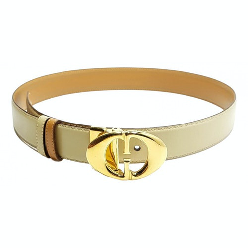 Gucci Interlocking Buckle Beige Leather Belt