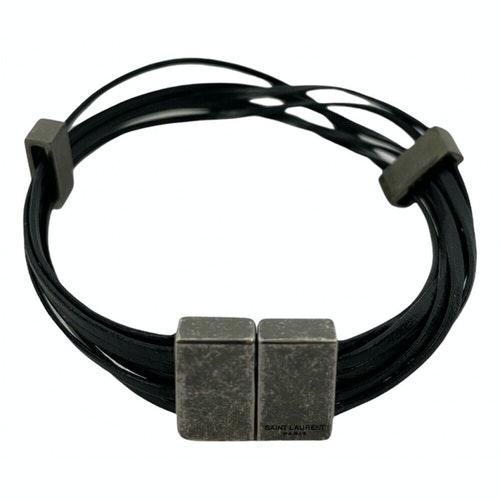 Saint Laurent Black Leather Bracelet