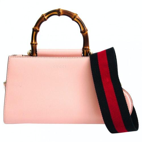 Gucci Bamboo Pink Leather Handbag
