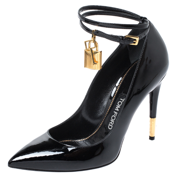 Tom Ford Black Patent Leather Padlock Ankle Wrap Pointed Toe Pumps Size 39.5