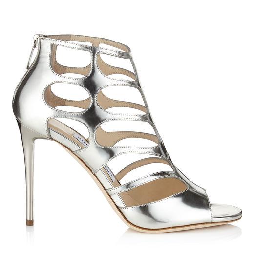Jimmy Choo Ren 100 Silver Mirror Leather Sandals
