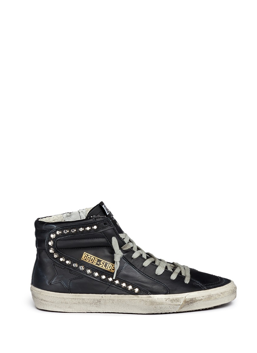 111f2f80fc5f Golden Goose  Slide  Stud Smudged Leather High Top Sneakers In Black ...