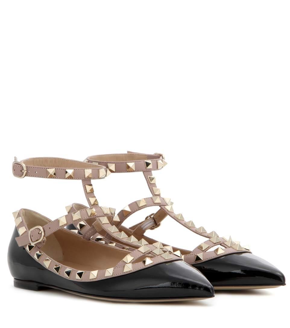 Valentino Garavani Rockstud Patent Leather Ballet Flats In Black
