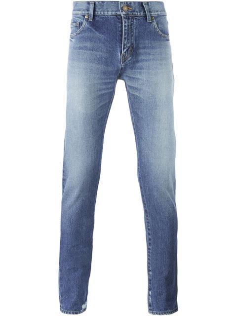 Saint Laurent Original Low Waisted Slim Jean In Light Vintage Blue Denim In Light Blue