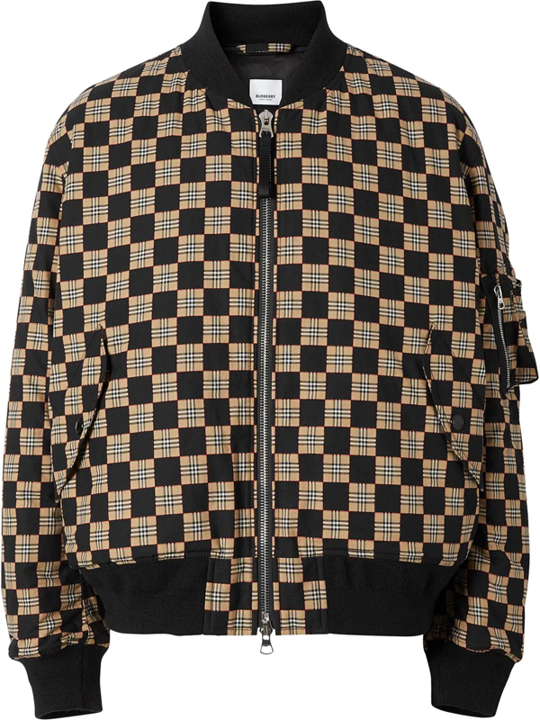 Burberry Brookland Chequer-print Cotton Bomber Jacket In Black