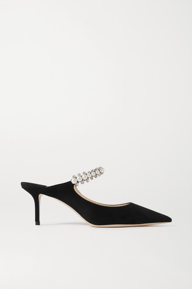 Jimmy Choo Bing 65 Black Suede Mules With Crystal And Pearl Strap