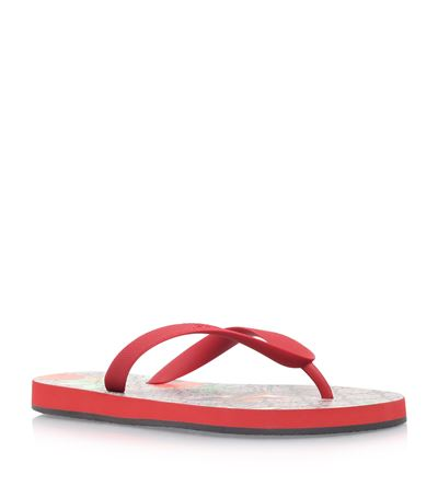 44a4edd2664 Gucci Red Gg Supreme Tian Print Rubber Thong Sandals  In Red Rubber ...