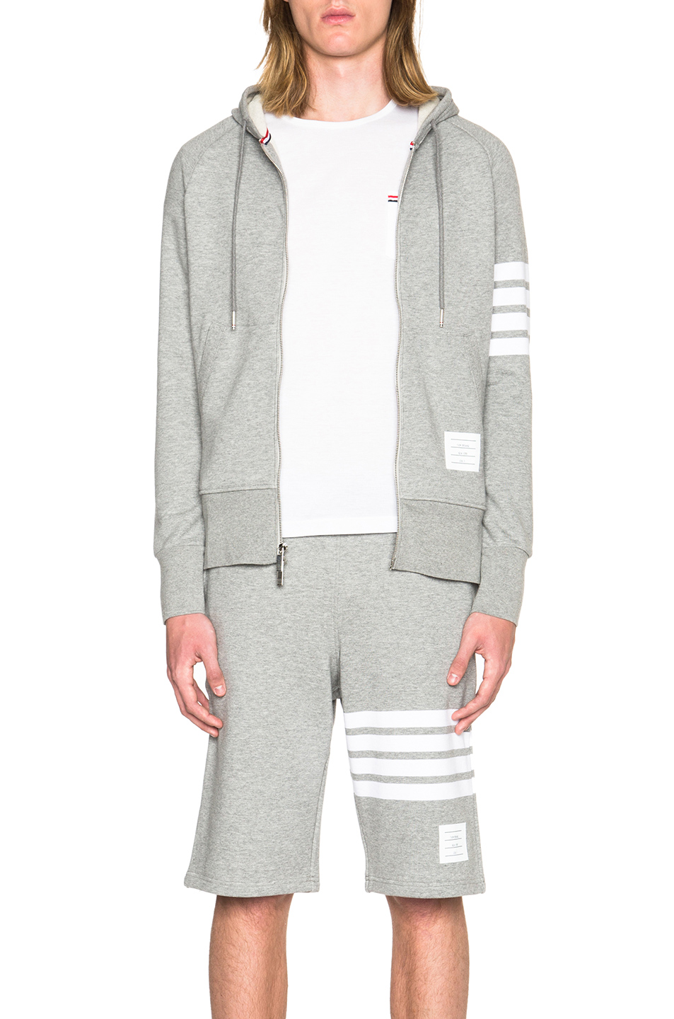 Thom Browne Striped Loopback Cotton-Jersey Zip-Up Hoodie - Gray In Light Gray