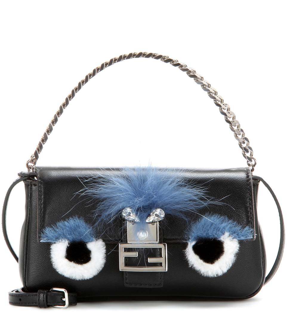 Fendi 'monster' Genuine Rabbit Fur & Genuine Fox Fur Micro Baguette - Black