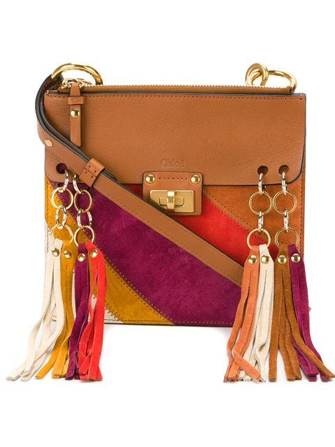 da6b924297 ChloÉ Jane Small Rainbow Patchwork Leather & Suede Crossbody Bag In Caramel