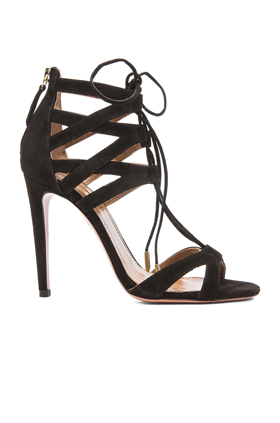 Aquazzura Beverly Hills Suede Lace-up Sandals In Llack