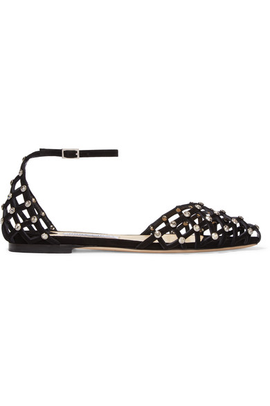 Jimmy Choo Davinia Flat Black Suede Pointy Toe Shoe Sandals With Crystal Studs