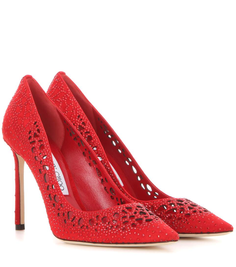Jimmy Choo Romy 100 Red Perforated Suede With Crystal Hotfix Detailing Pointy Toe Pumps In Red/red