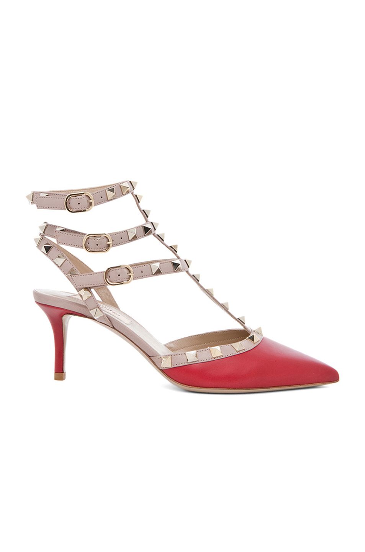 Valentino Garavani Rockstud Colorblock Leather Mid-heel Sandal, Crimson In Red