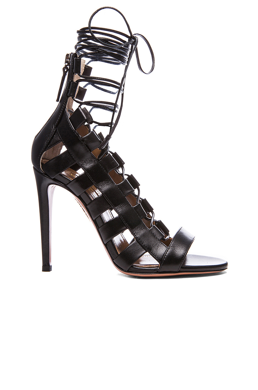 488419275b7f Aquazzura Amazon Lace-Up Ankle-Wrap Sandal In Black