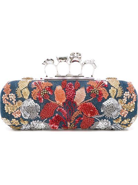 fd00f043b98ec Alexander Mcqueen Knuckle Duster Denim Box Clutch Bag W/Floral Embroidery  In Denim Multi