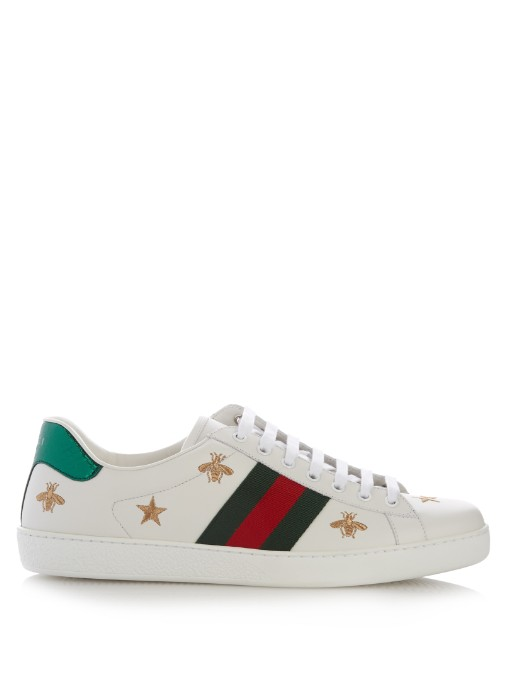 97e560fa93f Gucci Bee And Star-Embroidered Low-Top Leather Trainers In White ...
