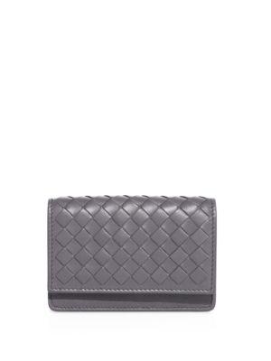 Bottega Veneta Woven Business Card Case In Grey