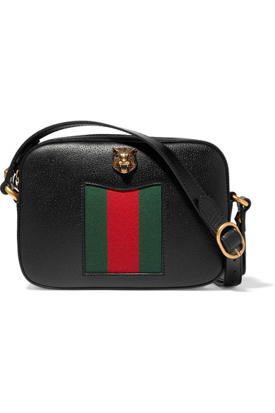 2fe32a1016f7 Gucci Animalier Disco Canvas-Paneled Textured-Leather Shoulder Bag In Black
