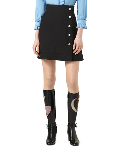 2bf5a9d64 Gucci A-Line Wool And Silk-Blend Crepe Mini Skirt In Llack | ModeSens