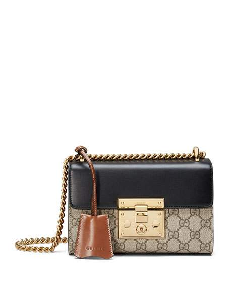 f914c62f54d Gucci Padlock Gg Supreme Leather And Coated Canvas Shoulder Bag In Brown