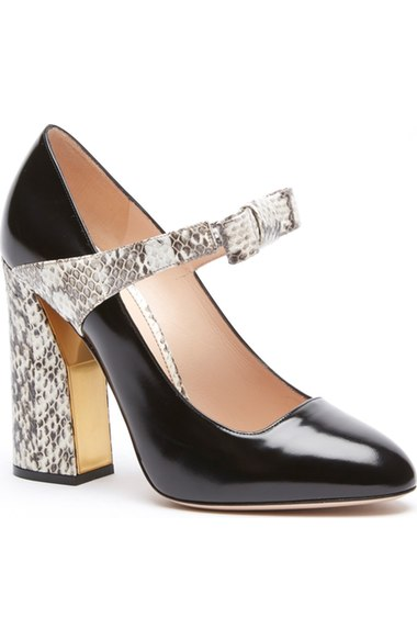 dd88898768b Gucci Nimue Bow Patent Leather   Snakeskin Mary Jane Block-Heel Pumps In  Black