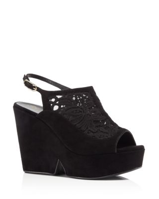 dae8feb0293c Robert Clergerie Danat Embroidered Mesh And Suede Platform Wedge Sandals In  Black
