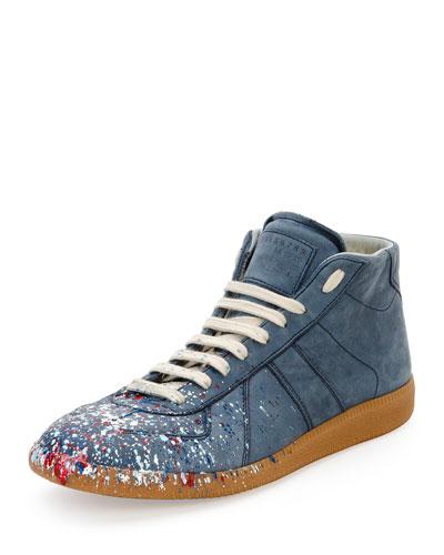 6dc05e4bc6b Replica Paint-Splatter Mid-Top Sneaker, Navy
