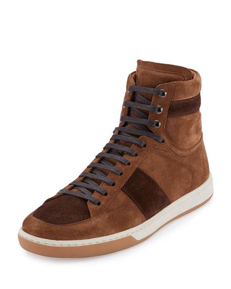 949d63886c Colorblock Suede High-Top Sneaker, Tan/Coffee