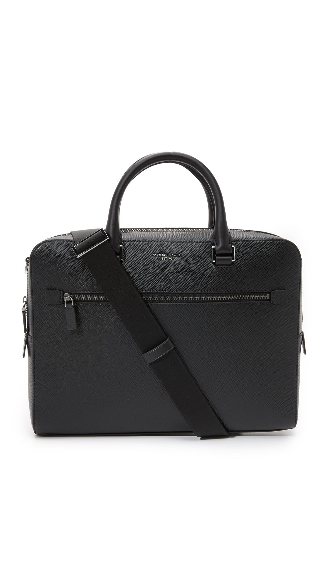 Michael Kors Harrison Front Zip Leather Briefcase In Black