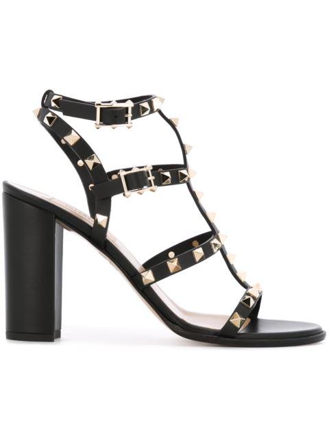Valentino Garavani Garavani Rockstud Cage-effect Strap Sandals In Black