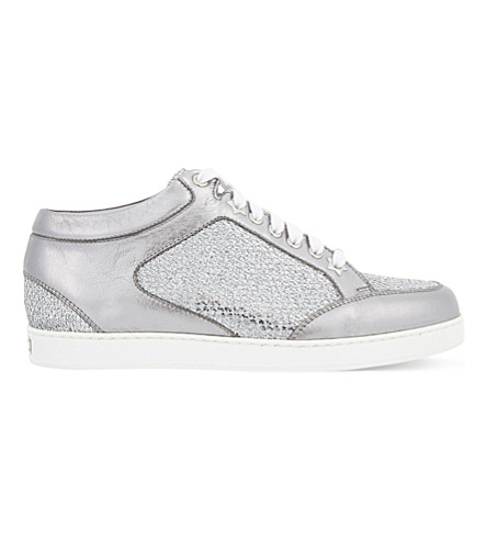 b8206139d162 Jimmy Choo Women's Miami Glitter Leather Low Top Lace Up Sneakers In  Metallic