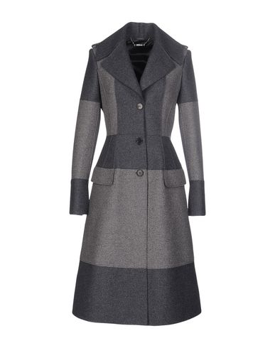 Alexander Mcqueen Two-tone Evening Coat In Grey