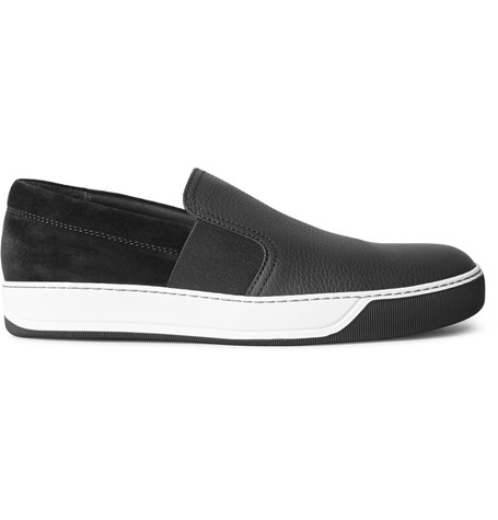 Lanvin Grained-leather And Suede Slip-on Sneakers In Black