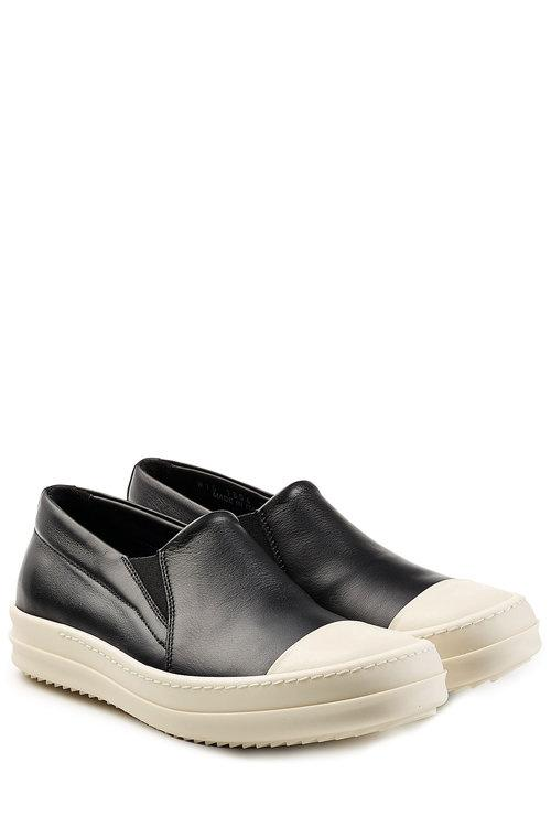 Rick Owens Leather Slip-On Sneakers In Multicolored