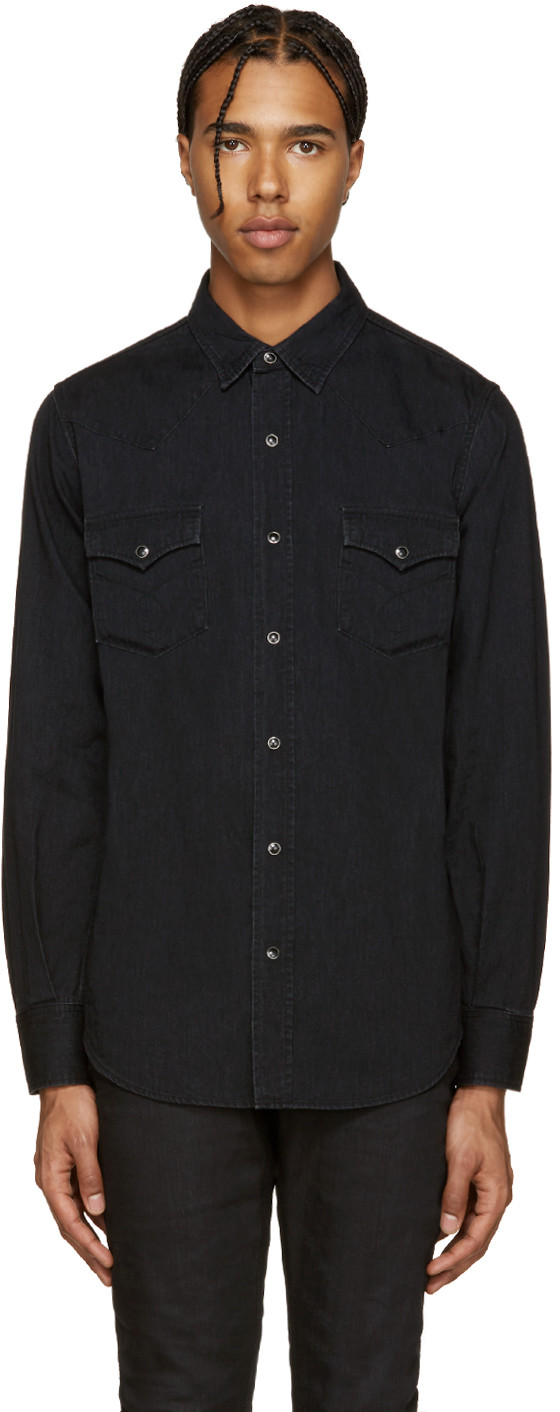 Saint Laurent Classic Western Shirt In Used Black Denim In 1080 Used Black