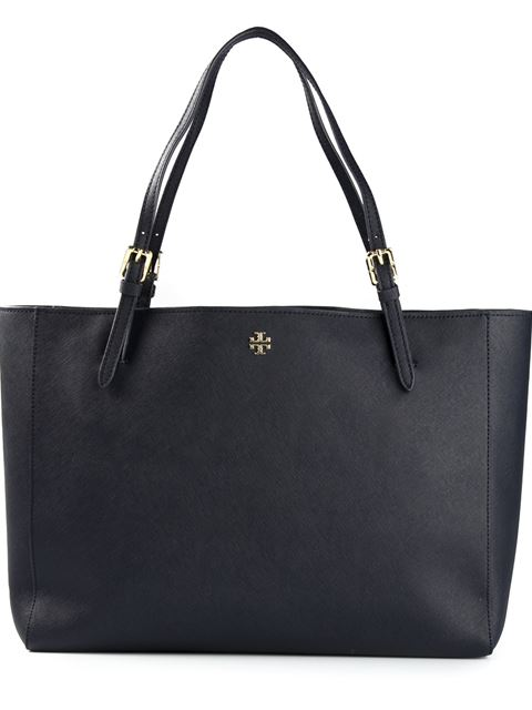 Tory Burch York Buckle Leather Tote In Tory Navy