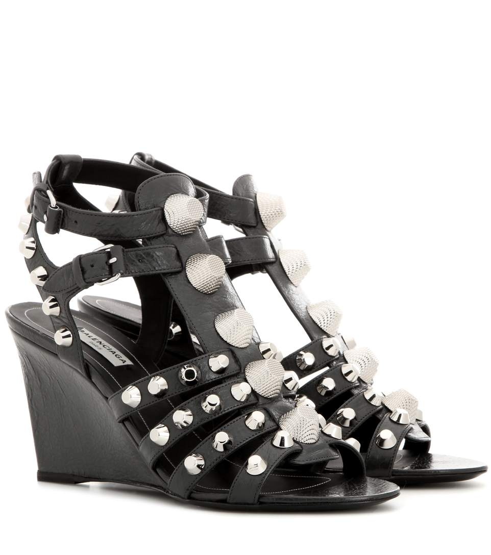 Balenciaga Studded Textured-leather Wedge Sandals In Gris Fossile