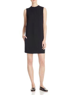 Vince Leather-Trimmed Shift Dress In Black