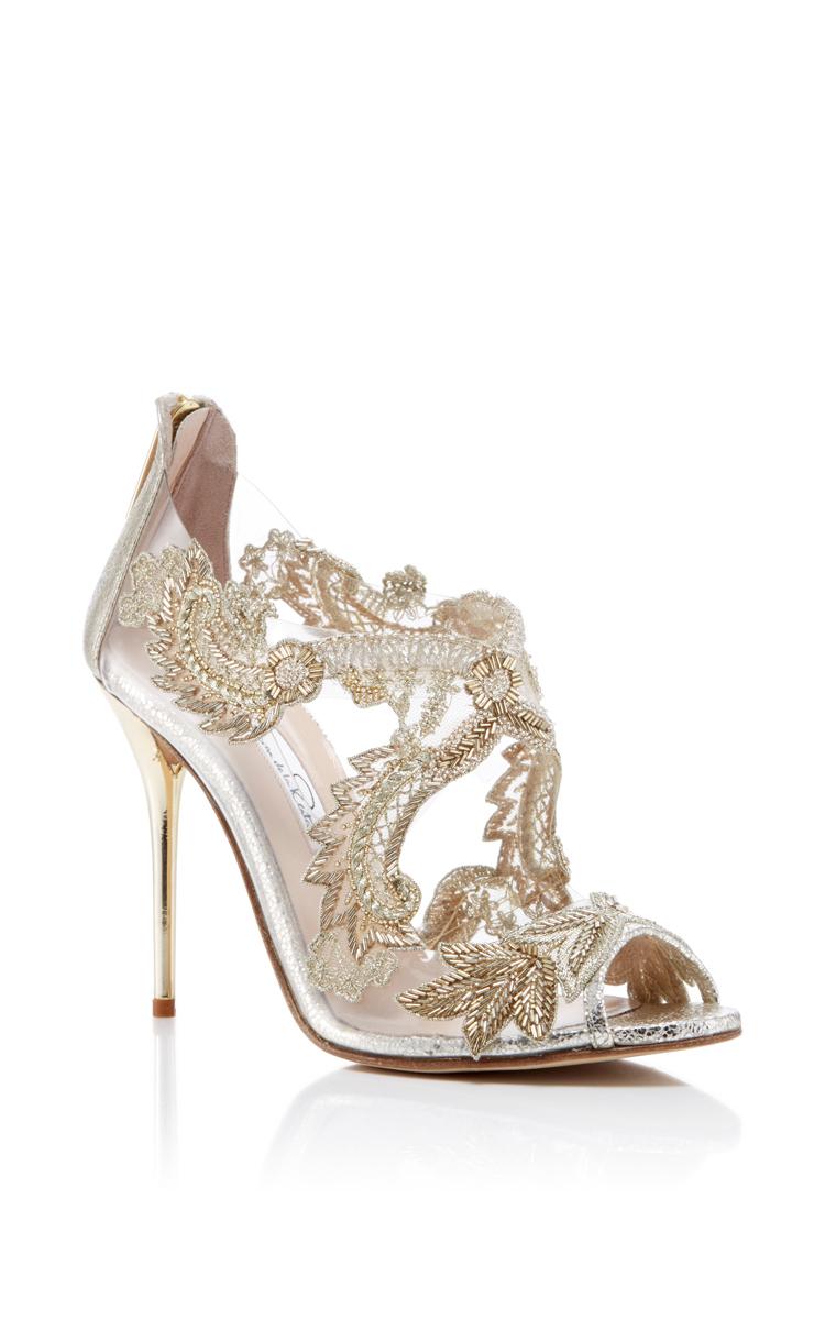 ba668c4d5c58 Oscar De La Renta Tatum Embellished Metallic Cracked-Leather Sandals In  Smoke