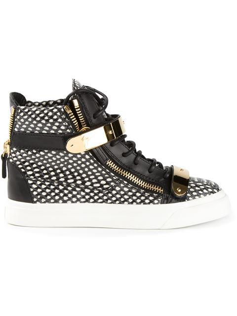 Giuseppe Zanotti Snakeskin Print Hi-top Sneakers In Steel Grey