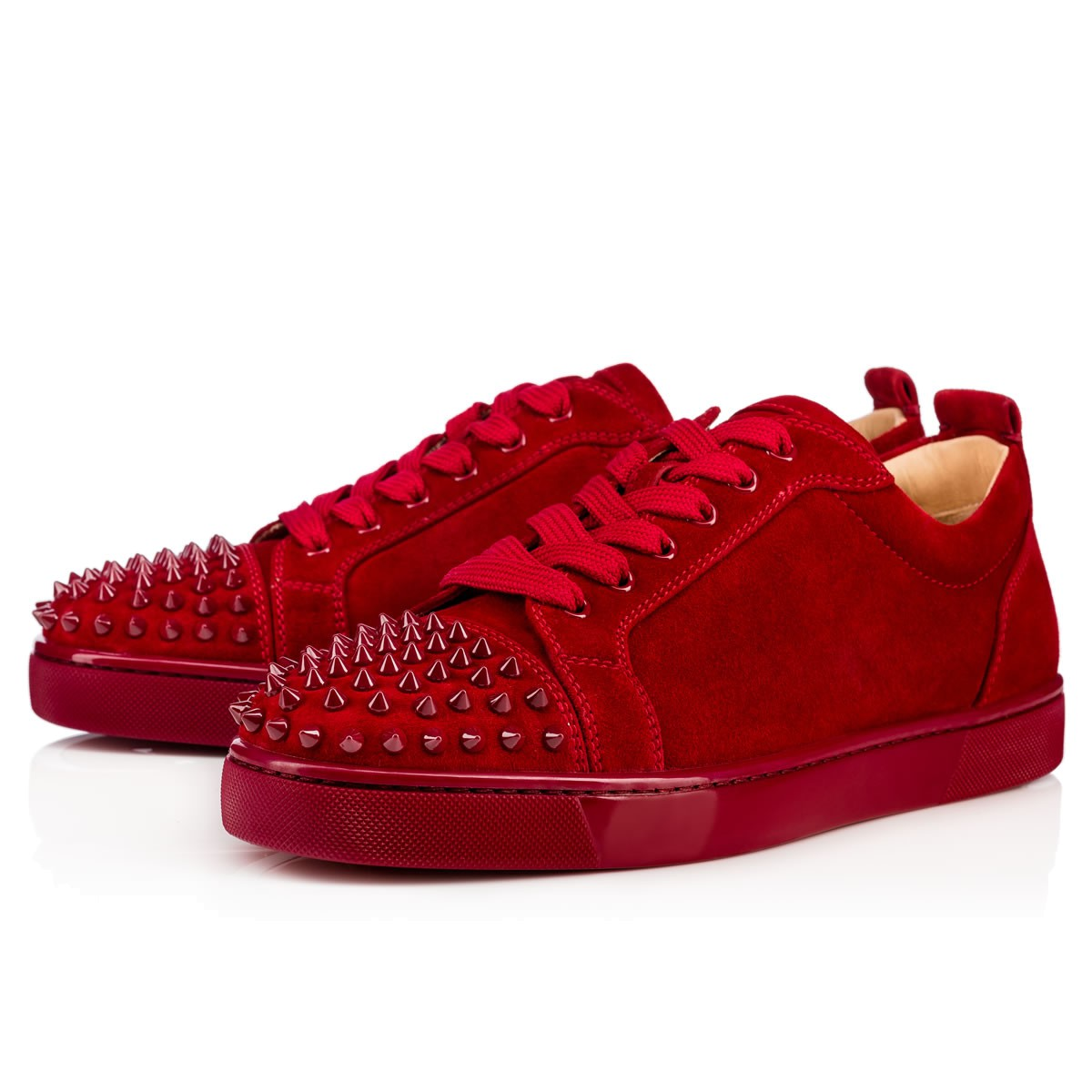 d6b83c7cf36 Christian Louboutin Louis Junior Spikes Flat Suede Sneakers In Red ...
