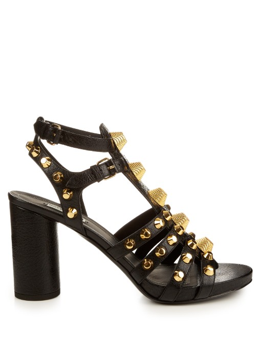 Balenciaga Giant Studded Leather Gladiator Sandals In These Dark-grey Leather Shoes Have An Open Toe