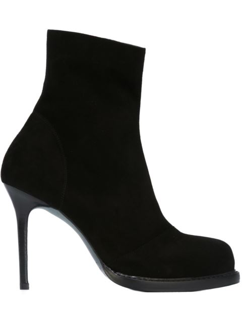 Ann Demeulemeester Panel-detail Suede Heeled Ankle Boots In Black