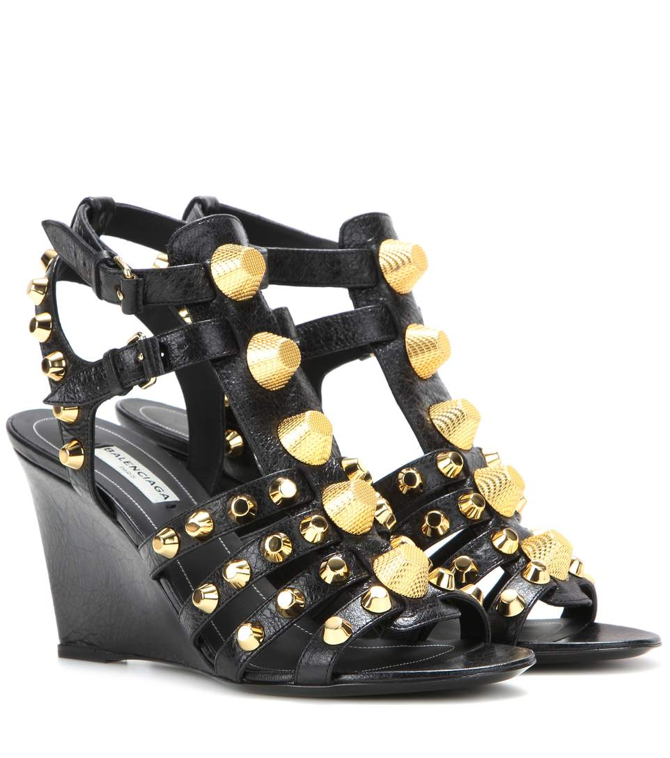 Balenciaga Studded Chunky-heel Cage Sandal, Black (noir) In Aethracite